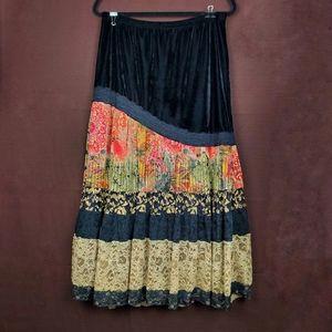COLDWATER CREEK Black Velvet Lace Gypsy Skirt M